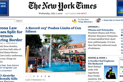 New York Times Online Front Page
