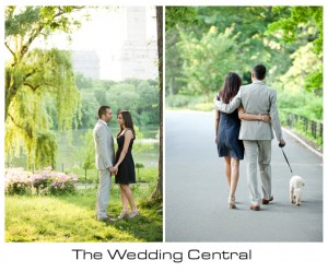 New York Engagement Photographer - Couple standing by willow tree bride and groom walking