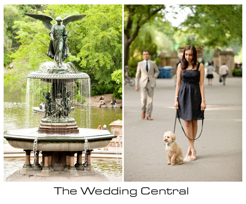 NYC Engagement Photographer - bride walking at the park with dog