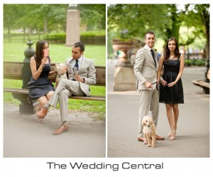 NYC Engagement Photographer - Couple walking at the park with dog and eating ice cream