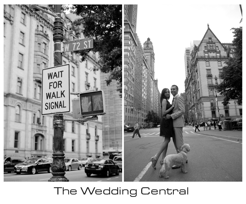 NYC Wedding Photographer - BW picture of couple NYC background