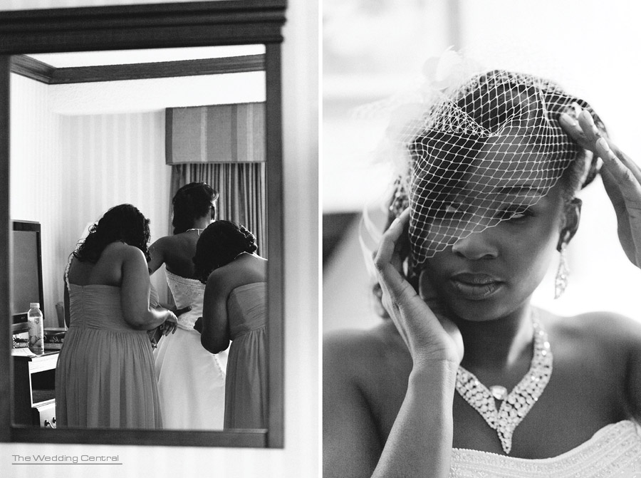 Bride getting ready, birdcage veil - Nicole and Evell NJ Wedding photos - Ridgefield Regency Wedding