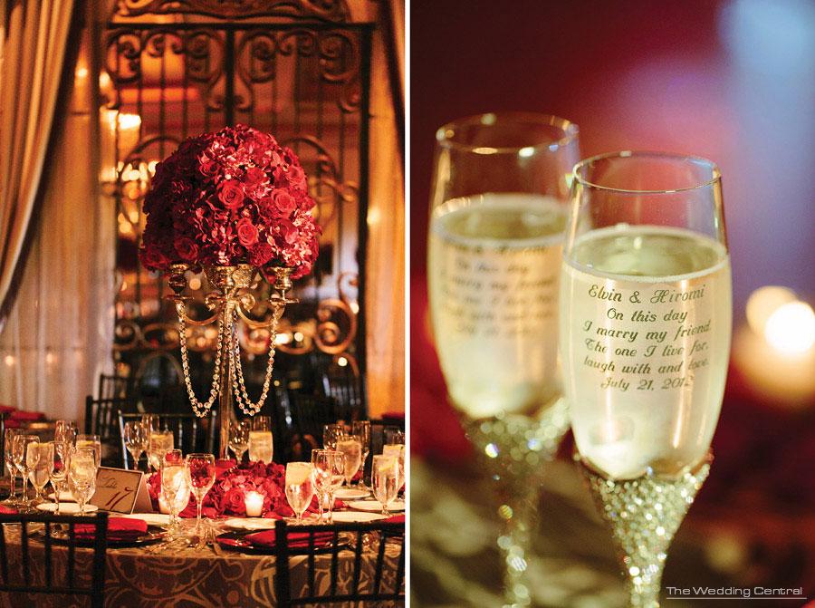 red roses - chandeliers - ballroom wedding - The Venetian NJ Wedding Photos - Hiromi and Elvin NJ Wedding Photos