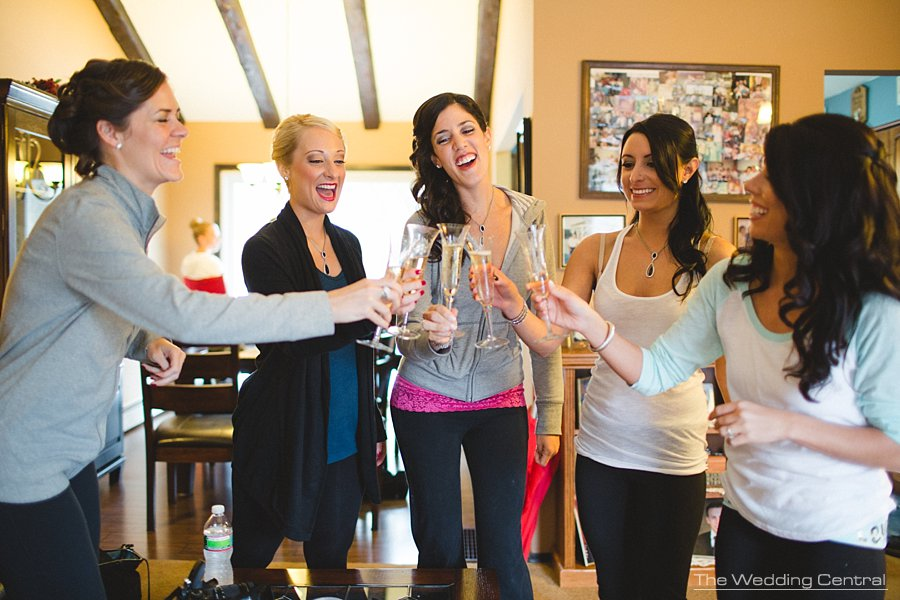 Bridesmaids toasting - The Villa Wedding - NJ wedding Photographer - Mountain lakes