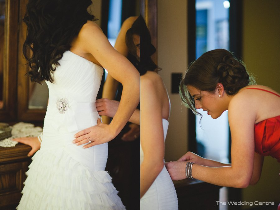 Bride putting dress on - The Villa Wedding - NJ wedding Photographer - Mountain lakes