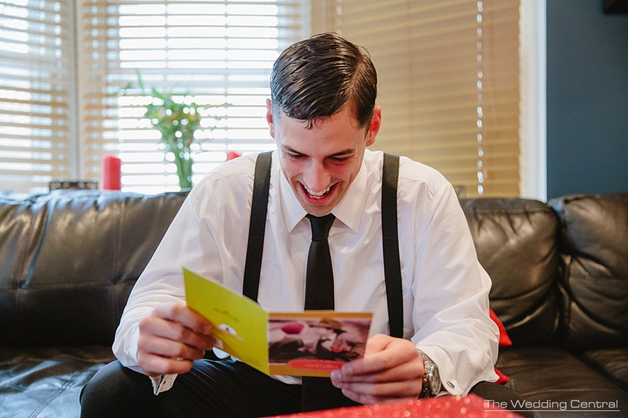 Groom reading card - The Villa Wedding - NJ wedding Photographer - Mountain lakes