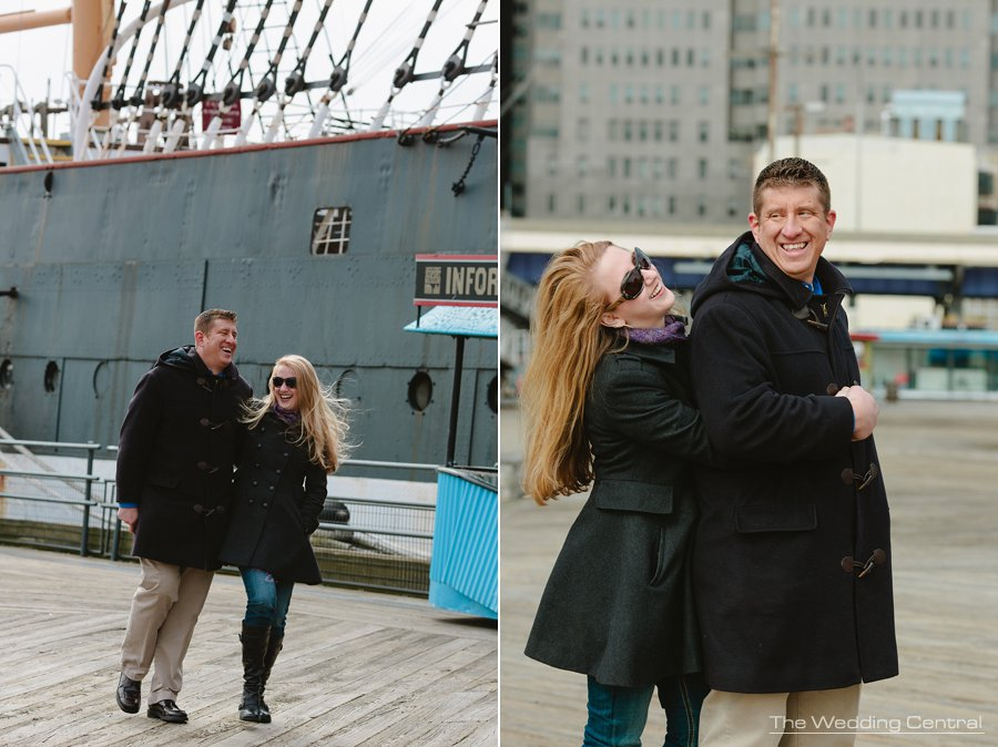 South Street Seaport Engagement Photos - Wedding Photographer in NYC - couple walking and laughing