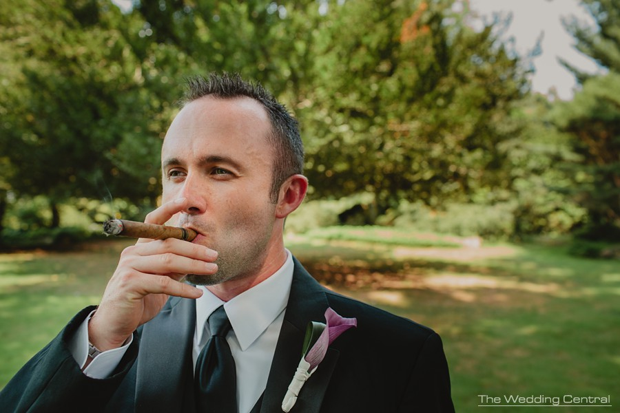 new jersey wedding photographer - groomsmen smoking cigar
