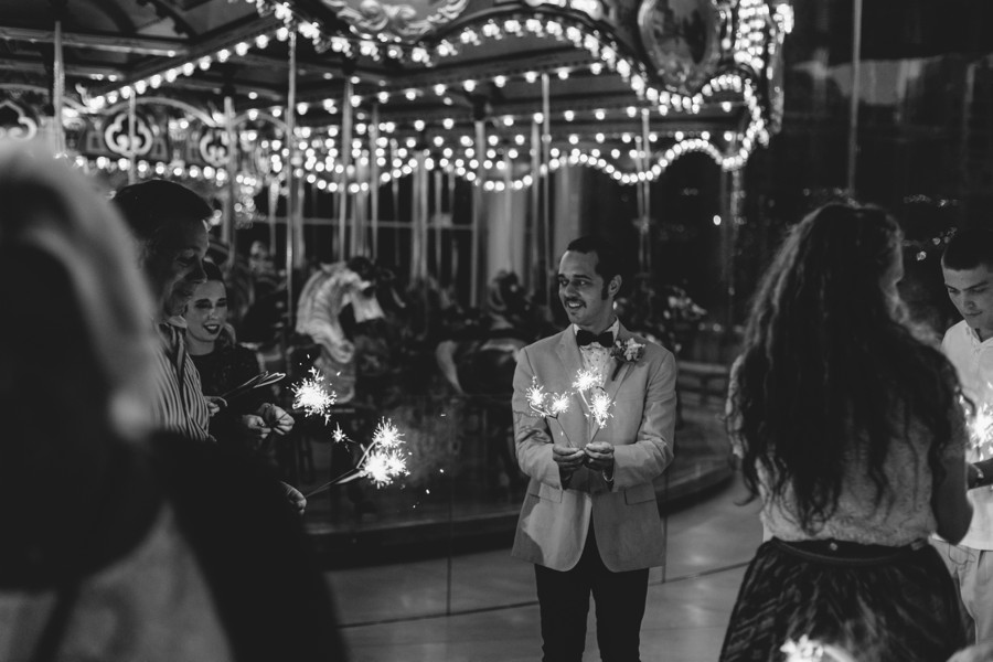 night Brooklyn wedding photography - sparkles Jane's carousel elopement wedding photos