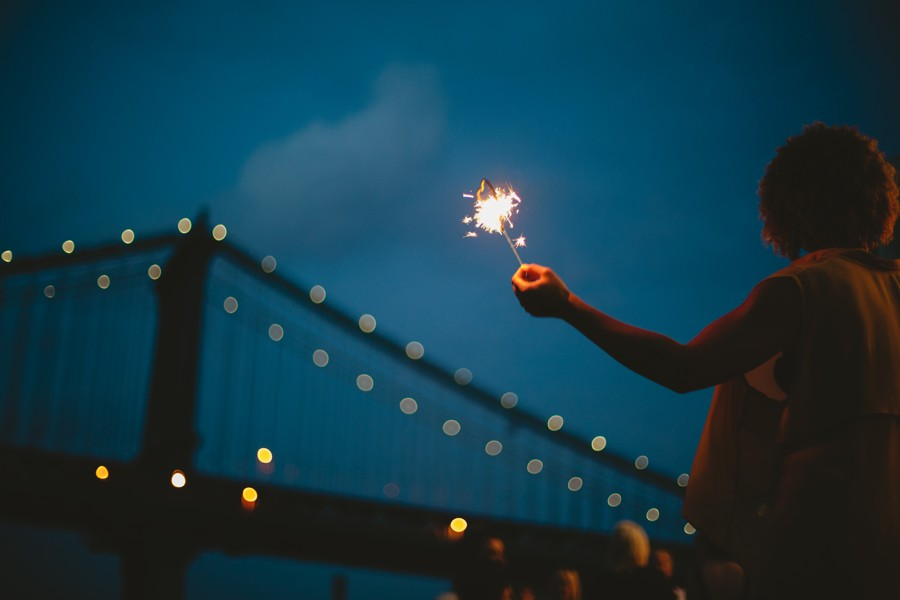 heat sparkles Brooklyn bridge wedding photos - Jane's carousel elopement wedding photos