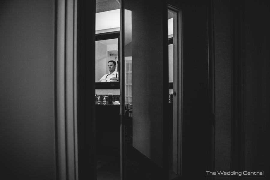 Groom getting ready film noir - The Palace at Somerset Wedding Photos - Lynne and Adam Wedding Photos