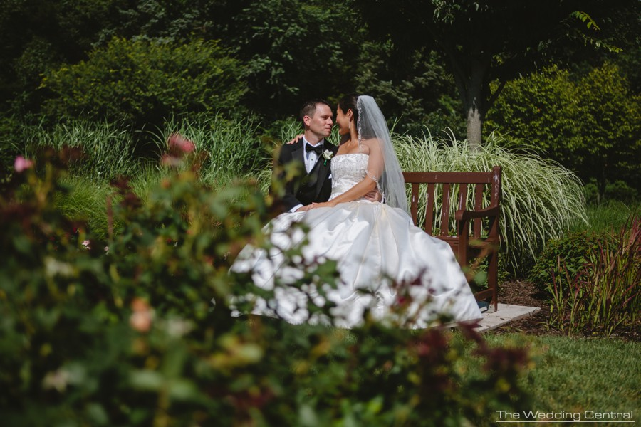 Bride and groom romantic portraits - Lynne and Adam wedding photos at the Palace at Somerset in NJ