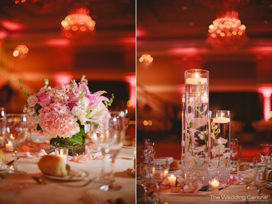 wedding details - elegant flower centerpieces roses and candles at The Palace at Somerset Park wedding in New Jersey