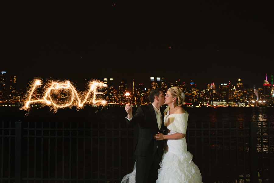 New Jersey wedding photographers - Night wedding photo overlooking NYC - Love with sparkles  - NJ wedding photographer
