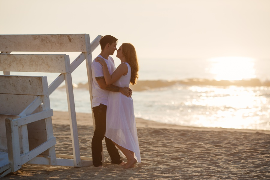 beach engagement photos down the jersey shore - romantic engagement photos