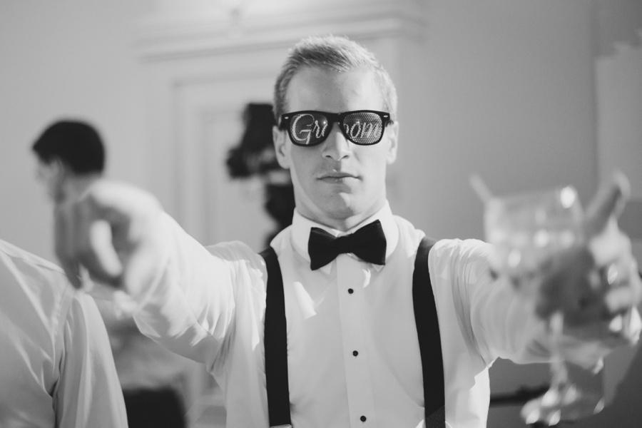 fun groom wedding photo during reception - Bourne Mansion Wedding Photos - New York Wedding Photographer