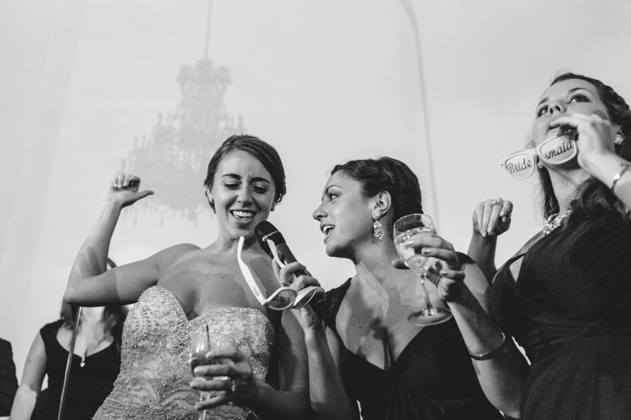 fun bride wedding photo during reception - Bourne Mansion Wedding Photos - New York Wedding Photographer