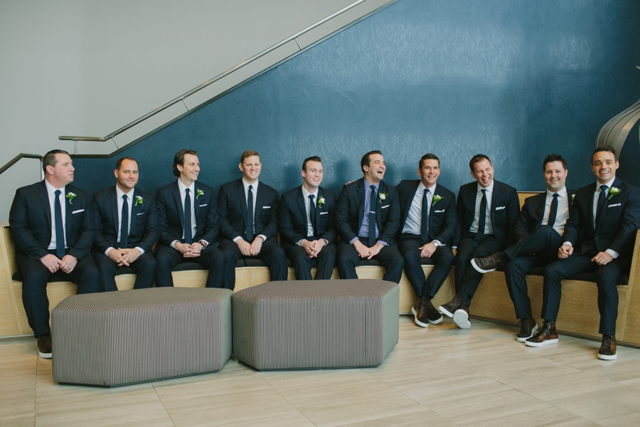 Groomsmen laughing - Hyatt Jersey City wedding photos