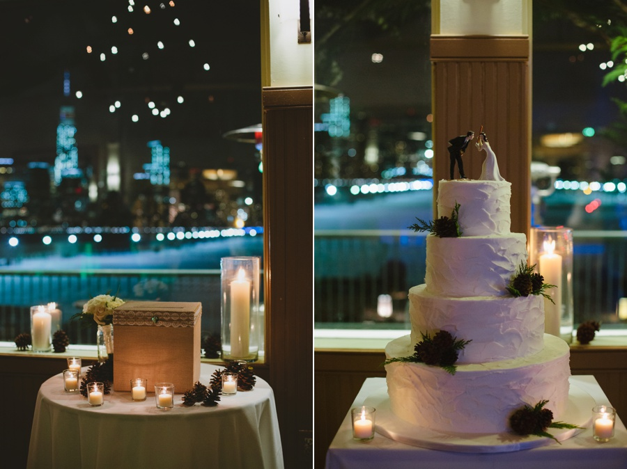 Liberty House Wedding Ballroom and Cake Boss cake at night - Winter Wedding - NYC views - Liberty House Wedding Photography
