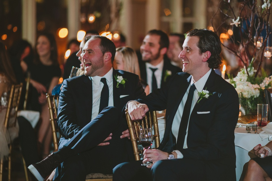 Guests laughing during toast - Liberty House wedding Photography
