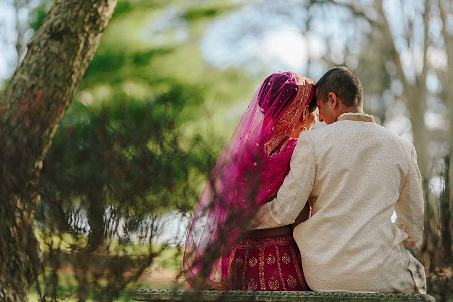 Romantic Indian Bride and Groom Wedding Portrait