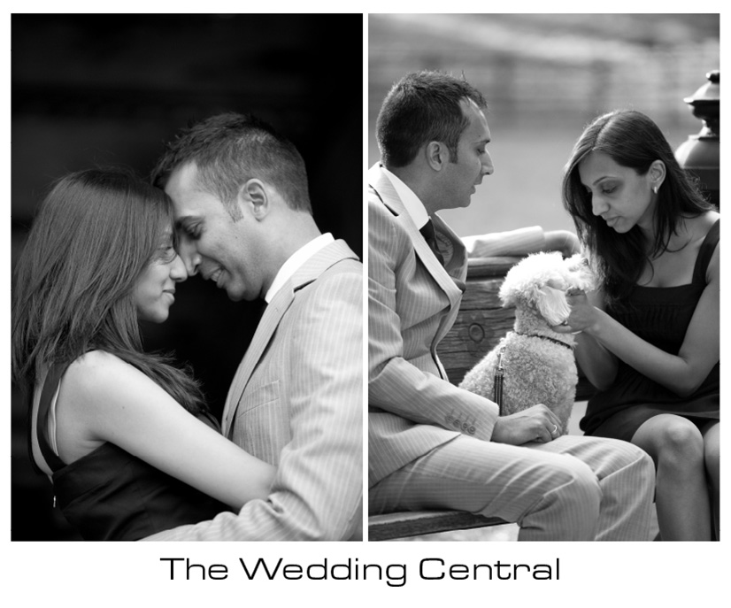 New York Engagement Photographer - BW bride and groom hugging and looking at dog