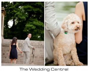 NYC Engagement Photographer - couple walking with dog