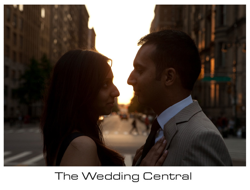NYC Engagement Photographer - photo of couple with NYC background at sunset
