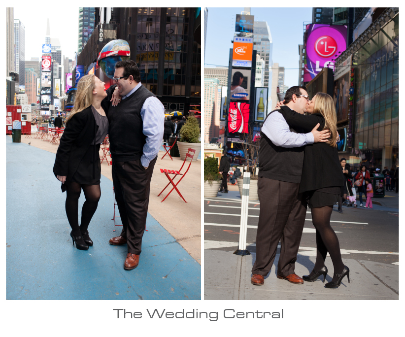 nyc engagement photographer - nick and patty times square nyc engagement photos