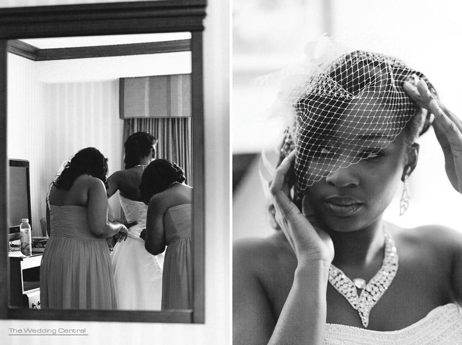 Bride getting ready, birdcage veil - Nicole and Evell NJ Wedding photos - Ridgefield Regency Wedding