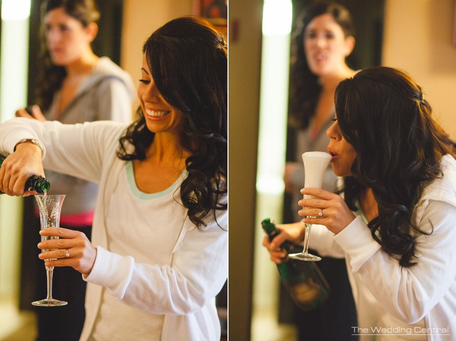 Bride drinking champagne - The Villa Wedding - NJ wedding Photographer - Mountain lakes
