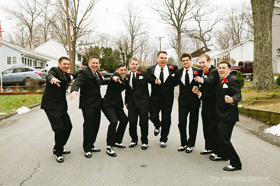 Groomsmen having fun - The Villa Wedding - NJ wedding Photographer - Mountain lakes