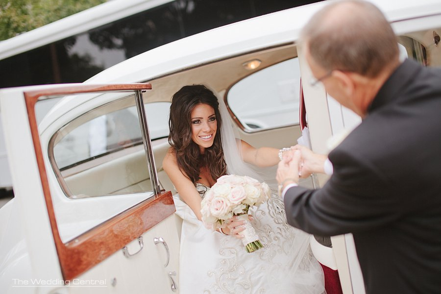 bride getting out of limo - the grove wedding photos - Diana and John wedding