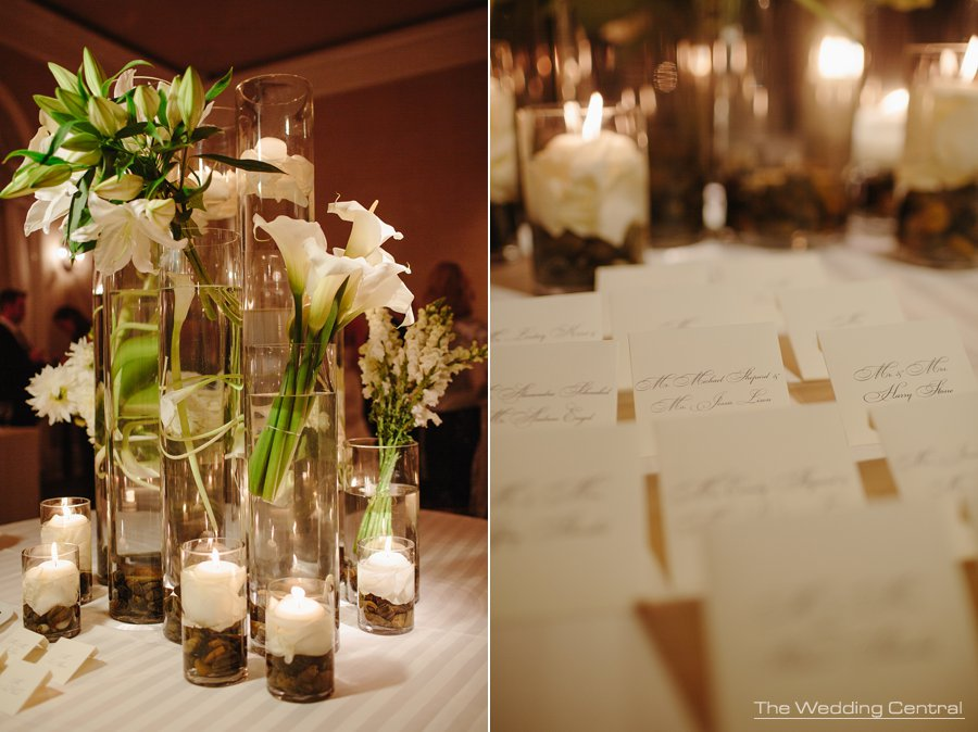 white centerpieces - elegant New York Botanical Gardens wedding reception - NY Wedding photographer