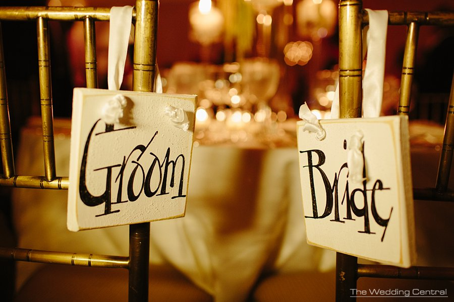 bride and groom sign - elegant Bronx Botanical Gardens wedding reception - NY Wedding photographer