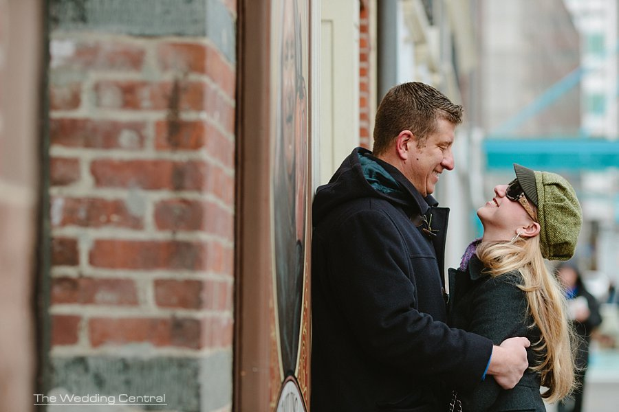 South Street Seaport Engagement Photos - Wedding Photographer in NYC - bride laughing