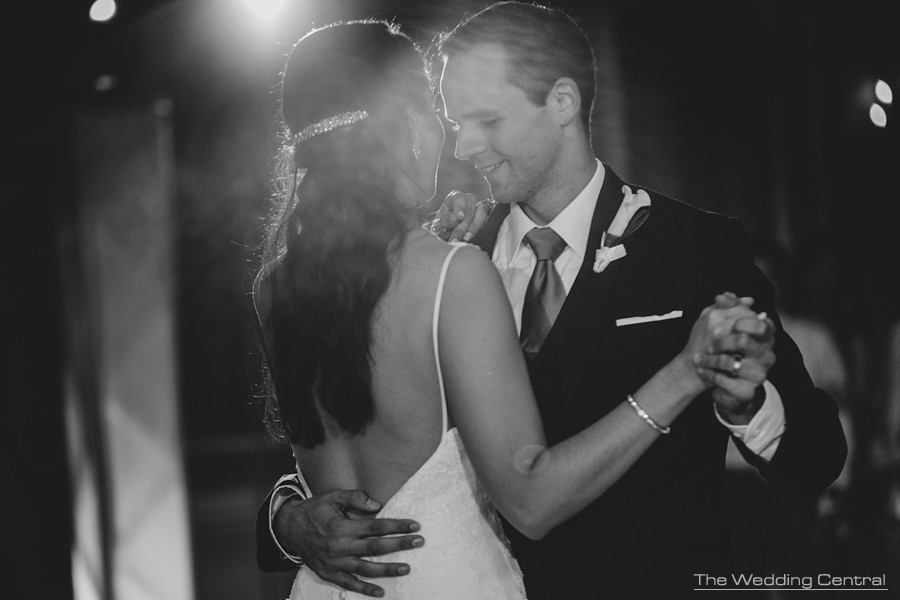 new jersey wedding photographer - black and white portrait of bride and groom dancing during reception