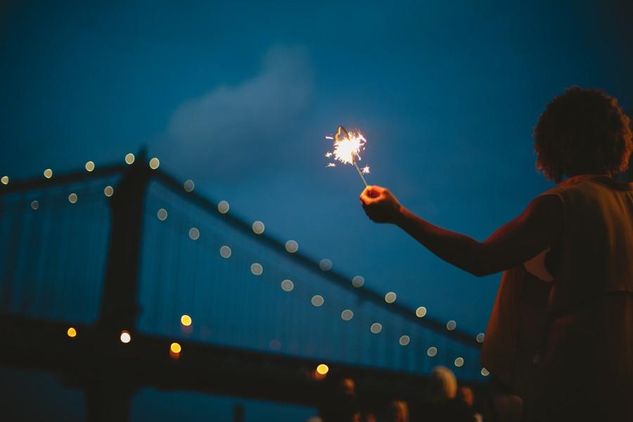heat sparkles Brooklyn bridge wedding photos - Jane's carousel elopement wedding photos