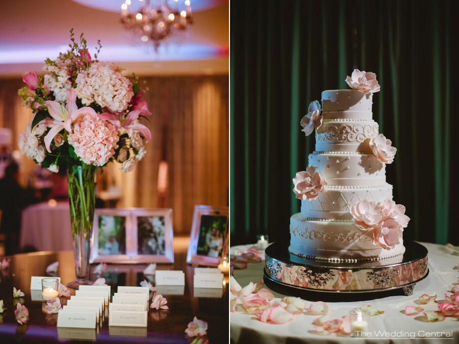 wedding details - floral centerpieces and wedding cake by Palermo bakery at The Palace at Somerset Park wedding in New Jersey