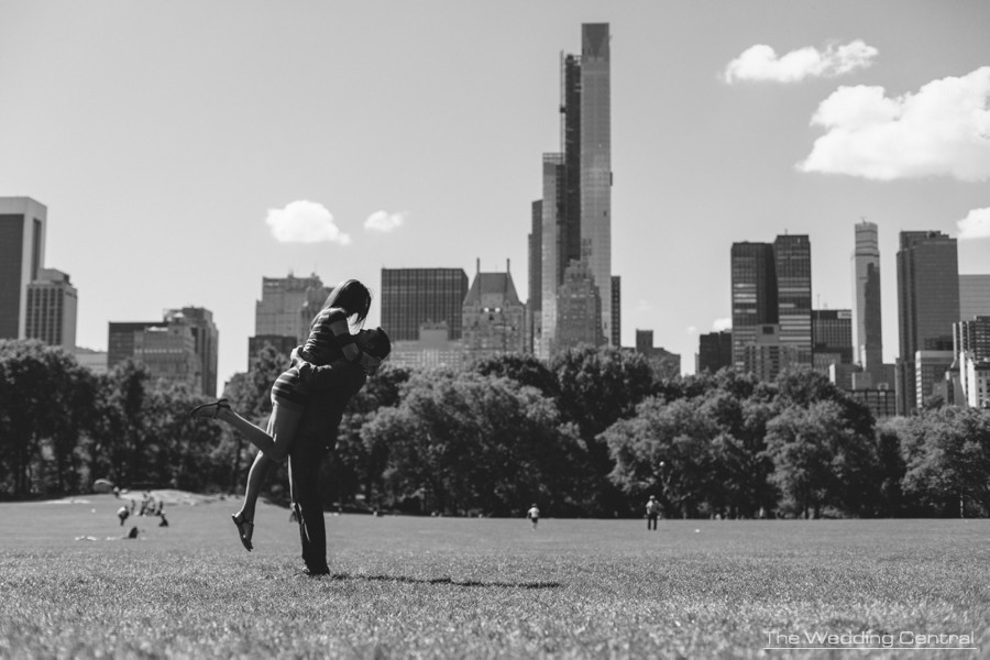 central park engagement photos in New York City by New York engagement photographer