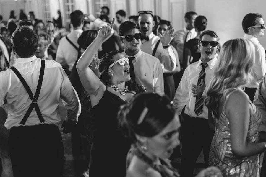 fun wedding photo during reception - Bourne Mansion Wedding Photos - New York Wedding Photographer