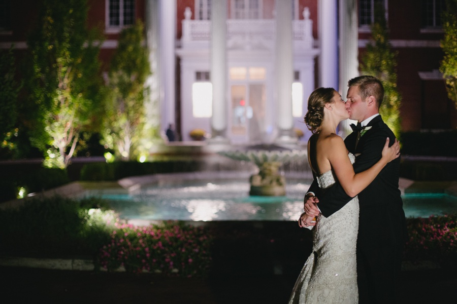 Night Portrait of Bride and Groom at Bourne Mansion - New York Wedding Photographers