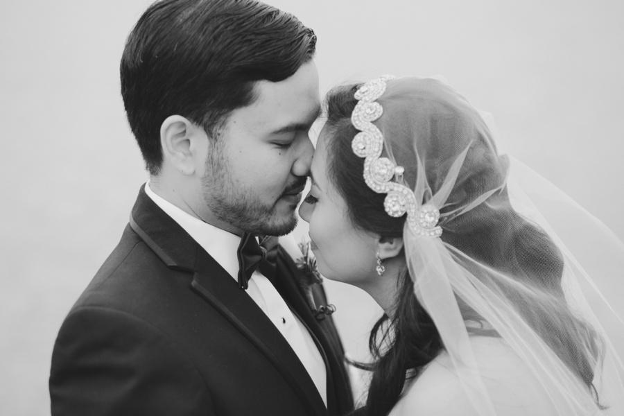 Romantic wedding portrait of bride and groom - Piermont NY Wedding Photos