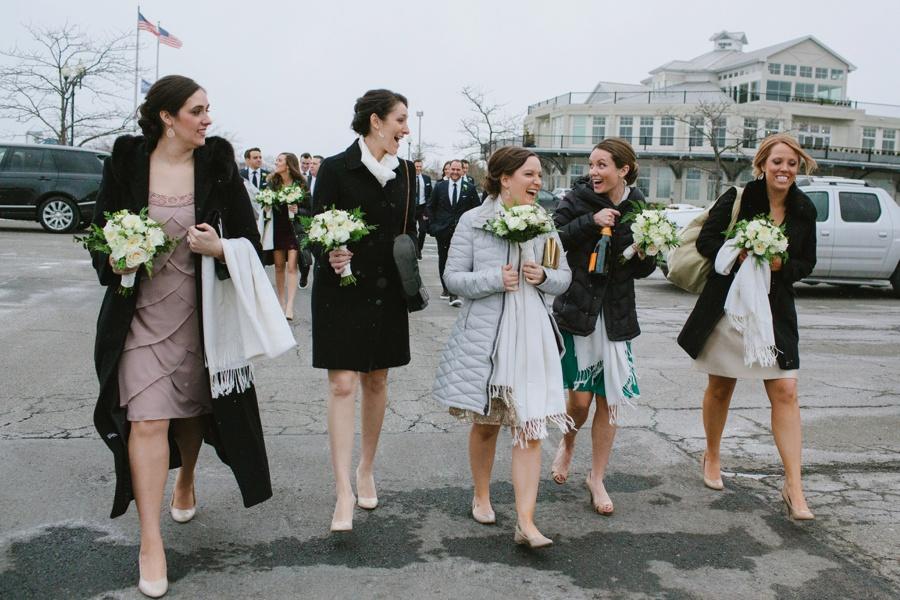Bridesmaids laughing winter wedding - Liberty House wedding photography