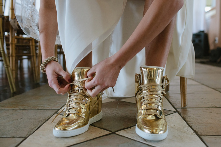 Limited Edition Nike Dunk Hi shoes in liquid gold wedding shoes - Liberty House Wedding Photography