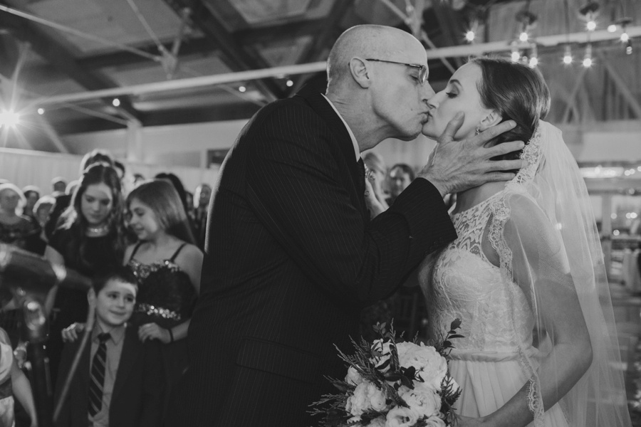 Bride at the altar with dad - Liberty House Wedding Photography