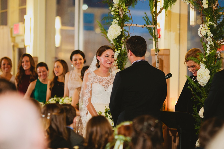 Bride laughing during Wedding Ceremony - Liberty House Wedding Photography