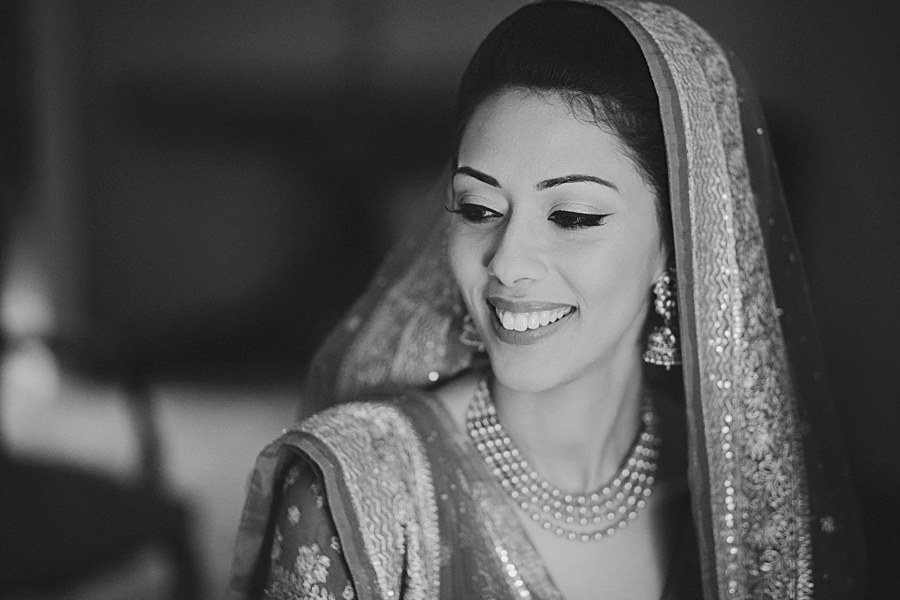 BW portrait of Indian Bride