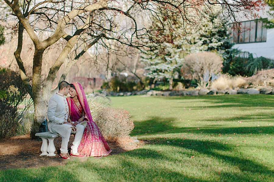 Romantic Indian Bride and Groom Wedding Portrait in New Jersey